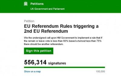 """民众在英国下议院网站发起""""第2次公投""""的联署请愿。"""