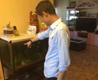 苏女士的儿子指出,鱼缸里的水也在地震时溢出来。