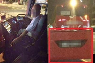 长途巴士司机竟色胆包上,于女乘客伸咸猪手。