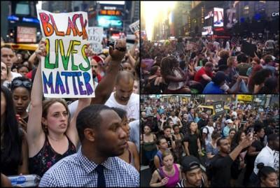 """纽约有示威者高举""""Black Lives Matter""""(黑人性命重要)的标语(左图)。"""