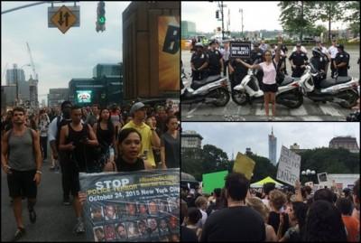 大批民众上街示威。