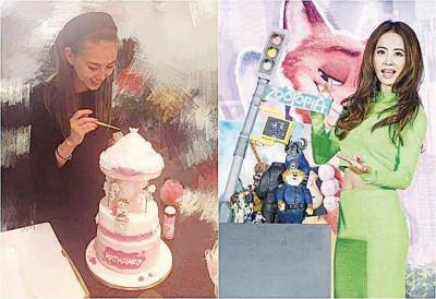 昆凌(左)分享作翻糖蛋糕,网友提议她可以找蔡依林讨教。