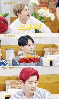 Suho(上至下)、Chen及灿烈。