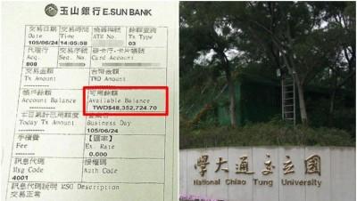 于新竹交通大学读书的王姓大陆学生惊见户口内有4800多万新台币(近600万令吉)的余额(红框示),感到不知所措。