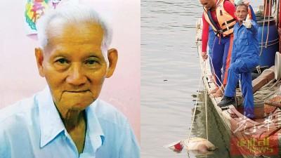 吉玻潮州会馆前老座办被发现浮尸在河流,消拯人员及志愿团人员准备打捞尸体上岸。