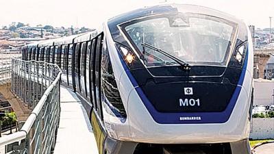 向高发展的轻快铁及单轨火车比较适合槟城,图为国外的单轨火车系统。