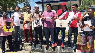 马来人非政府组织代表要求警方调查黄明志,中为阿兹迪,左2为立祖安。