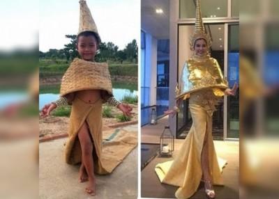 吉吉朱诺(左图)使用藤篮当毫不起眼的东西,做别有特色的时装。