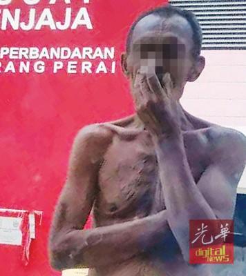 上身赤裸的中年男子频在拉惹乌达一带搞破坏。