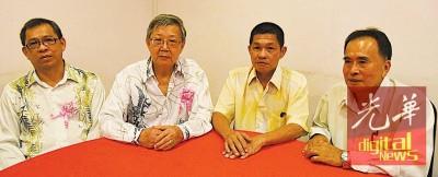 陈元隆(左起)、林俊昌、北马猪肉商工会主席洪锦量与顾问邱锡裕,告政府与关注生猪反常涨价的题材。