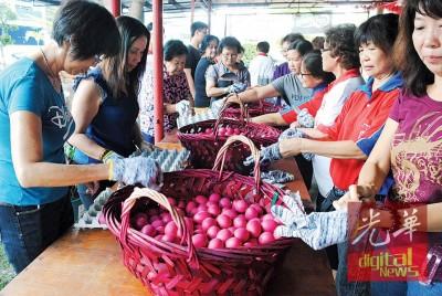 工作人员穿上手套,将染红的鸡蛋排入入蛋格内。