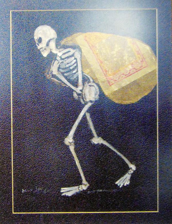 杨曼生的作品 《生活的包袱》,画中人物整个人变成骷髅。