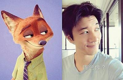 """王力宏PO出和《动物方城市》主角""""尼克""""合成照,让网友直呼太像了。"""