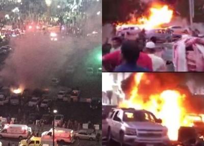 麦地那先知寺停车场汽车爆炸画面。