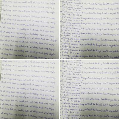 女佣被雇主罚写字,一行字要抄写500到1000遍,写满了数张A4纸。