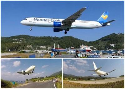 不同航空公司的客机,高速飞过摄影发烧友的头顶。