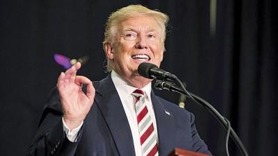 """特朗普告诉现场观众:""""我要重新启动美国,这是做得到的,而且并非那么困难。""""(法新社照片)"""