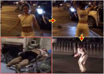 山东一样名女司机驾车撞人后,还一直以让撞者旁边跳舞。