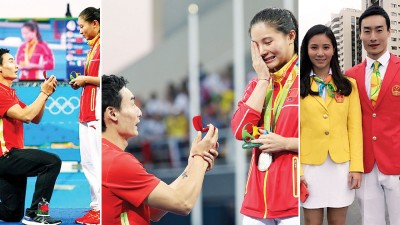 经过6年长跑,中国跳水情侣何姿和秦凯终于情定一生。