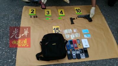 公安部以现场起获毒品、些微将手枪、手机、手机充电器等物。