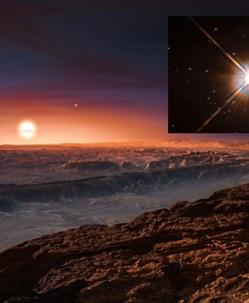 """科学家发现可能宜居的行星""""Proxima b""""。图为该行星地貌的构想图。小图为欧洲南方天文台拍得的比邻星。(法新社照片)"""