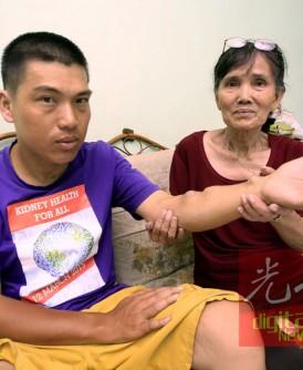 单亲妈妈梁简开为了儿子罗建成的肾病熬了23年,走到山穷水尽的地步,希望热心人士伸出援手。