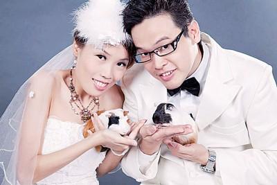 陈美琦与林汶发的婚纱照。