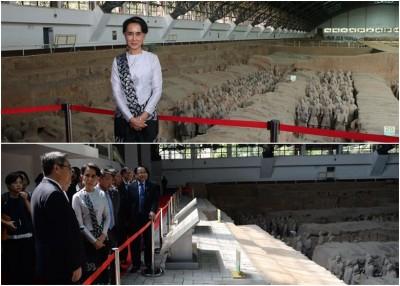 昂山素姬访问西安期间,到秦始皇兵马俑博物馆参观。