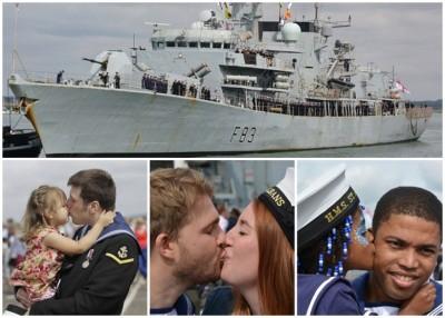 天奥尔本斯号(上图)归航,亲朋好友迎接船员,埸面感人。