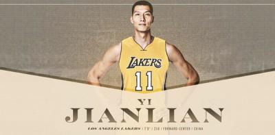 洛杉矶湖人队之合法网站晒出了平等张易建联合身穿湖人11号球衣的合成照片。