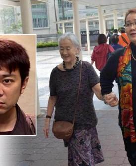 外甥女莫翠玲牵着富婆钟庆春的手离开法庭。小图为前中国籍导游杨寅。