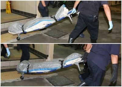 两人遗体由仵工送往殓房。