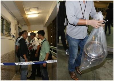 警员封锁现场并带走证物调查。