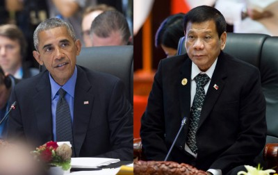 欧巴马(左)和迪泰特(右)在出席盟峰会晚宴前短暂会面。(法新社照片)