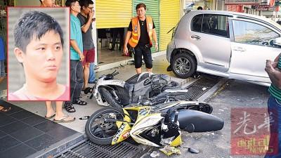 跨威倒退直撞入眼镜店。(有些图)司机在意外后同脸茫然。