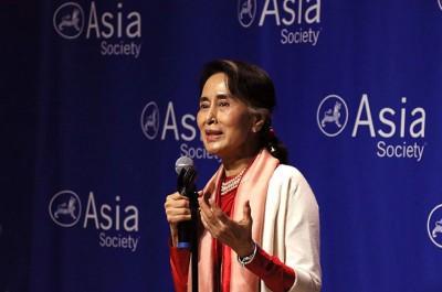 昂山素小率全民盟赢得缅甸大选后,长以美国公开演讲。