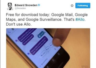 斯诺登称谷歌Allo会见记录用户所生的平等字一句。