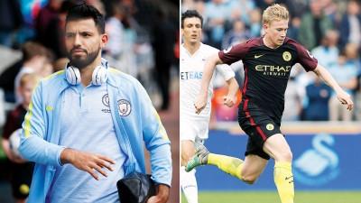 (左)曼市猛将如云,其前锋阿奎罗尽管禁赛3场,但仍然以5个进球并列英超射脚榜首位。(右)德布劳内希望能够赶上曼市客战巴塞隆纳的欧冠比赛。