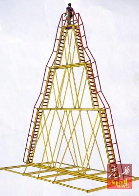 需要动用吊机装架的4层楼高刀梯设计图。