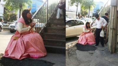 如果在街头见到这样打扮的乞丐,你是否会伸出援手?