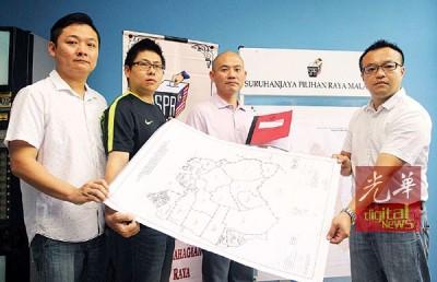 林立迎(左3)与胡克耀(左起)、林文祥及游佳豪抨击选委会选区划分工作不公。