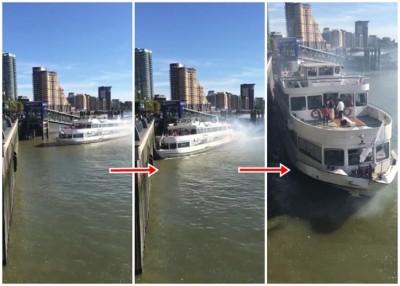观光船撞向码头。