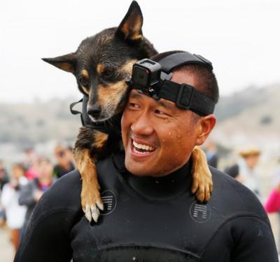 每当世界狗只滑浪大赛获冠军的艾比同主人的合照。