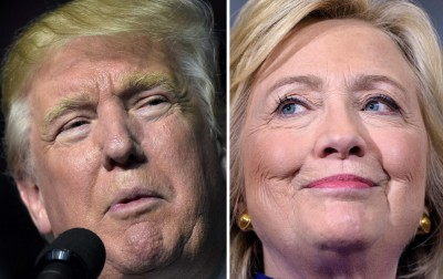 特朗普(左)和希拉莉(右)的首度辩论交锋,估计将抓住1亿人口看,写下纪录。(法新社照片)