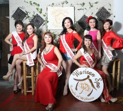 今年参赛的吴文湘(左起)、曾诗媛、李荔红、李季娟、何珠英(前)、Julie和廖丽萍等冻龄佳丽。
