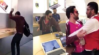 男子在旅店内暴砸苹果产品,新兴为保安制服。