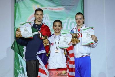 陈昌敏(中)以9.23分赢得武术世青赛女子南拳A组金牌,领奖后与意大利亚军菲德丽亚(左)和俄罗斯的达莉亚合影。