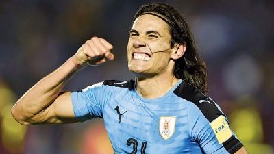 卡瓦尼当比中梅开二度成为乌拉圭获胜的最大功臣。