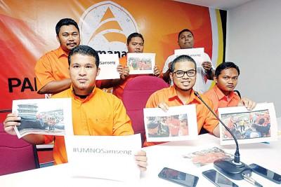 霹雳州诚信党青年团针对红衫军干扰净选盟造势活动召开记者会,为者左起为取胜鲁、莫哈最后非特利及沙吉。