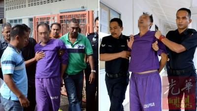 (左)嫌犯早前让带向丧府瞻仰出席母亲丧礼,立马情绪不安定拒绝瞻仰遗容。(右)嫌犯早前让延长羁押接受调查。